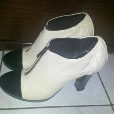 Botine Pantofi Piele Musette Alb cu negru - Botine dama, Marime: 36, Marime: 36.5