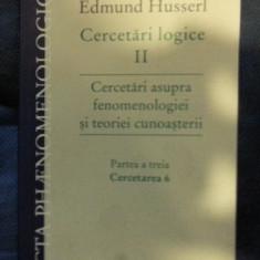 E. Husserl CERCETARI LOGICE vol. II Ed. Humanitas 2009