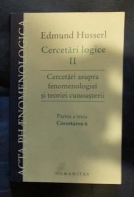 E. Husserl CERCETARI LOGICE vol. II Ed. Humanitas 2009 foto