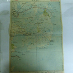 Harta Ismail color 47 x 31 cm perioada interbelica - Harta Romaniei