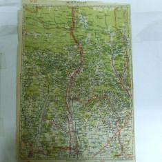 Harta Ramnicu - Valcea color 47 x 31 cm perioada interbelica - Harta Romaniei