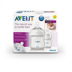 Set 2 biberoane Philips Avent Natural 125 ml bebe nou nascuti biberon, 0-6 luni, Fara BPA