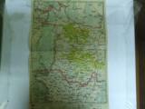 Harta Galati - Braila - Tulcea - Ismail color 47 x 31 cm perioada interbelica