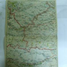 Harta Buzau - Ramnicu Sarat color 47 x 31 cm perioada interbelica