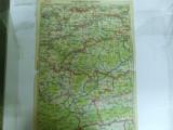 Harta Sibiu - Blaj - Sighisoara color 47 x 31 cm perioada interbelica