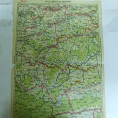 Harta Sibiu - Blaj - Sighisoara color 47 x 31 cm perioada interbelica - Harta Romaniei