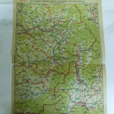 Harta Brasov - Fagaras - Odorhei - Sf. Gheorghe - Miercurea Ciucului color 47 x 31 cm perioada interbelica - Harta Romaniei