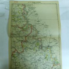 Harta Tighina - Chisinau color 47 x 31 cm perioada interbelica - Harta Romaniei