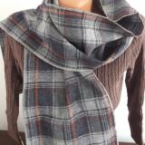 FULAR lana gri carouri