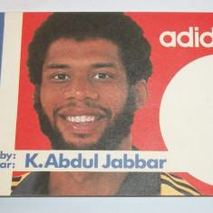 cartonas pentru autograf baschetbalistul Kareem Abdul-Jabbar Los Angeles Lakers (reclama retro Adidas anii '80)