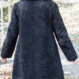 Palton Astrahan Swakara - Palton dama, Marime: 38, Culoare: Negru