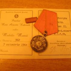 MCD1 - DECORATIE COMUNISTA - RPR - CU BREVET - EMISA IN 1960!!!!!!