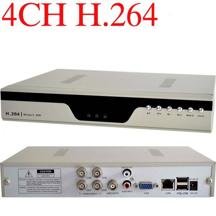 Accesorii cctv DVR CU 4 CANALE compresie H264 Dvr 4 canale H264 accesibil iPhone, iPAD, Android, Blackberry programul EagleEyes Security H.264 CCTV foto mare