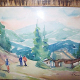 Peisaj montan, acuarela veche pe hartie groasa semnata E Dumitrescu - Pictor roman, Peisaje, Impresionism