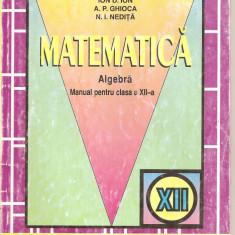 (C4330) MATEMATICA, ALGEBRA, MANUAL PENTRU CLASA A XII-A, ION D. ION, A.P. GHIOCA, N.I.NEDITA, editura EDP, 2000 - Manual scolar, Clasa 12