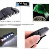 Lampa 5 LED - uri prindere pe sapca lumina alba 2 pozitii pescuit vanatoare drumetii camping cu baterii culoare negru sapca prindere, Accesorii intretinere