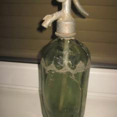 Sticla Sifon veche verzuie Lazar Odon TG Mures, sticla Turda-1 litru