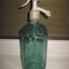 Sticla Sifon veche verzuie Carl Pochtler Wien-Hermeth Timisoara cu cap de peste, sticla Turda-1 litru