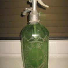 Sticla sifon veche verde Mercur Timisoara- Sibiu sifon cu cap de peste- 1 litru