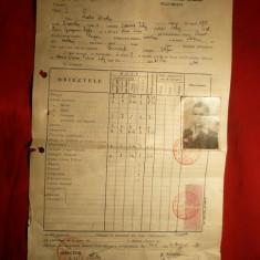 Foaie Matricola -Liceul Gh.Lazar 1944,cu fotografie si 2 Timbre fiscale