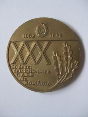 MEDALIA 30 ANI DE LA INFIINTAREA CASELOR DE AJUTOR RECIPROC ALE PENSIONARILOR DIN ROMANIA 1952-1982 foto