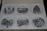 SET - 6 PIESE - FURSTENBERG PORZELLAN - Seit 1747 - Farfurii din portelan gravate manual - WEST GERMANY - La cutie !