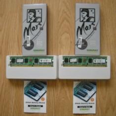 Set de 2 placute memorie RAM functionale, marca KINGMAX, 2 X 512 MB, tip DDR 2, 800 mhz