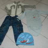 Set 4 piese baieti, 2-3 ani, de joaca. Caciula, blugi, camasa si body, OFERTA!, Marime: 30, Culoare: Albastru, Compleuri