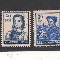 No(03)timbre-Romania -UZUALE-completarea emisiunii din 29 martie 1955-stampilata, An: 1952