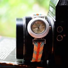 Ceas quartz - Ceas dama Fossil, Fashion, Mecanic-Manual, Inox, Material textil, Analog