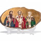 Icoana pe agat - Sf. Trei Ierarhi - Pictor roman