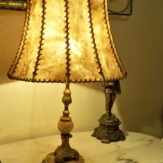 Lampa veioza bronz si alabastru superba