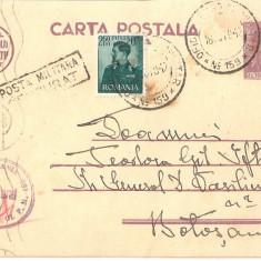 CPI (B3441) CARTE POSTALA, CIRCULATA, 16.OCT.1942, POSTA MILITARA, CENZURAT, STAMPILE, TIMBRE, RAZBOI, CENZURA