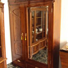 Dulap, lemn de nuc, art novo (Art Nouveau), Original ca. 1900, 1900 - 1949