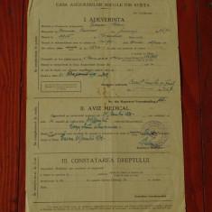 Adeverinta - Aviz Medical - casa asigurarilor sociale din Resita - 1939 !!!, Romania 1900 - 1950