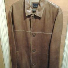 Geaca sacou de piele barbatesc Leatherman culoare caramiziu maro masura L / XL Genuine Leather barbati originala - Geaca barbati