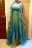 Rochie din voal  verde / bleu lunga de ocazie  /  nunta / petrecere, Maxi