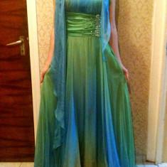 Rochie din voal verde / bleu lunga de ocazie / nunta / petrecere - Rochie ocazie, Marime: 36, Maxi