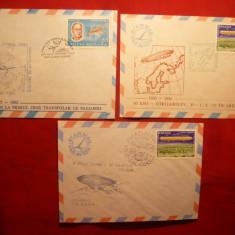 3 Plicuri - Zboruri Polare - cu Stampile Speciale Romania - Plic Papetarie