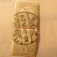Pereche- 5 f.-1904 verde, stampila Timisoara-Temesvar - Timbre Romania