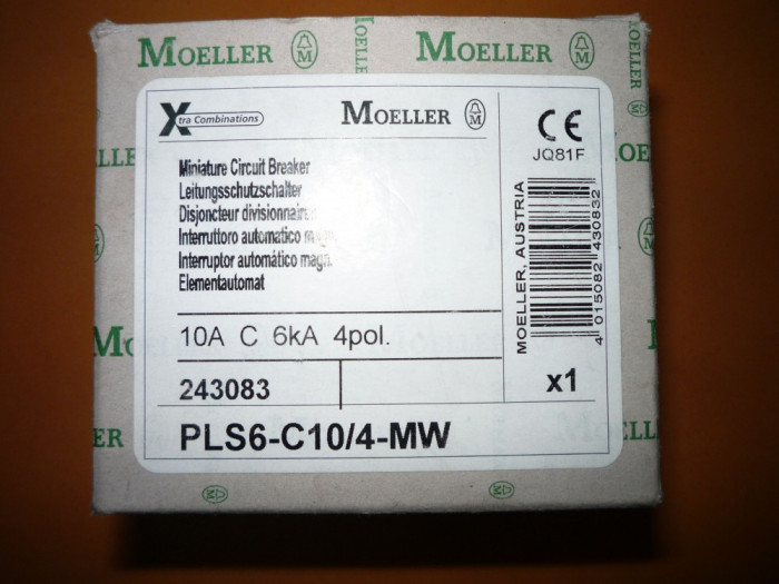 Intreruptor magneto-termic trifazat,tetrapolar 10A,disjunctor,separator Moeller