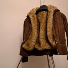 Geaca/pulover/jacheta copii Tommy Hilfiger, Culoare: Maro, Fete
