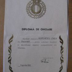 DIPLOMA DE ONOARE ACR
