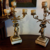 SFESNICE PERECHE BRONZ D'ORE CU STATUETE ANII 1900 - Metal/Fonta
