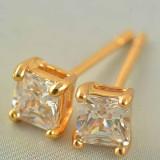 Cercei dublu placati aur 18K cristale zirconiu cod CFB05 - Cercei Fashion