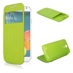 Husa verde S View flip capac spate Samsung Galaxy S4 mini i9190 + folie protectie ecran + expediere gratuita - Husa Telefon