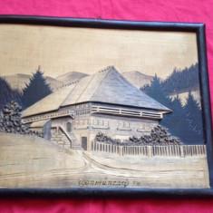 Frumost tablou din lemn - peisaj cu casa in relief !!!