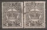 TIMBRE 97c, ROMANIA, 1932/8, TAXA DE PLATA COROANA, 3 LEI, EROARE, FRACTURA - LINIE ALBA - IN DREPTUL OREI 10, DE LA CENTRUL COROANEI LA MARGINE, ECV