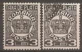 TIMBRE 97b, ROMANIA, 1932/8, TAXA DE PLATA COROANA, 3 LEI, EROARE, FRACTURA - LINIE ALBA - IN DREPTUL OREI 10, DE LA CENTRUL COROANEI LA MARGINE, ECV