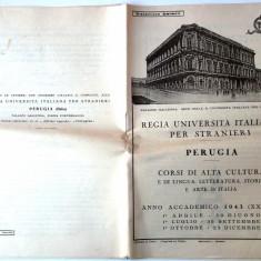 PROGRAMA CURSURI CULTURA LIMBA ISTORIE ARTE ITALIA UNIVERSITATEA REGIA 1943 **, Europa, Documente